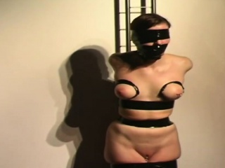 Brunette chick stripped big boobs tied tortured