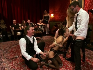 Slaves throats and cunts group banged