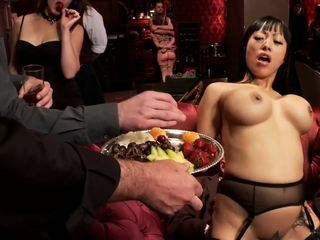 Busty House slaves anal fucked at party