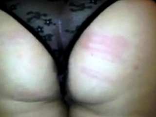 caning for Amy in black string