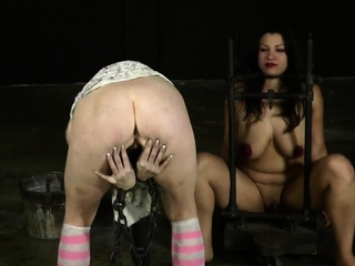 Tied up sweetheart is punished by dom for her naughty sins