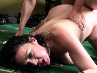 Curvy bigtitted euro sub gags on hard cock