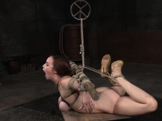 Hogtied bondage submissive gets throat fucked