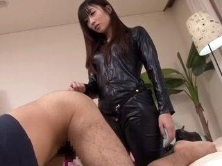 Japanese strapon leather lady