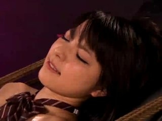 Busty Asian girl in bondage gets fingered and dildoed